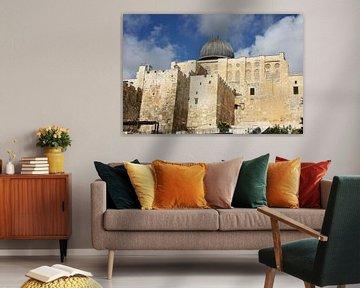 Al-Aqsa-Moschee in Jerusalem. Das Heiligtum der muslimischen Welt ist eine Moschee mit grauen Kuppel von Michael Semenov