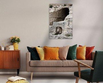 Oude tunnels onder de Tempelberg. Tunnels in de rotsen, stenen, ondergrondse gangen van het oude Jer van Michael Semenov