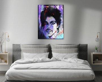 Abstraktes Prince porträt in Lila, Blau, Orange von Art By Dominic