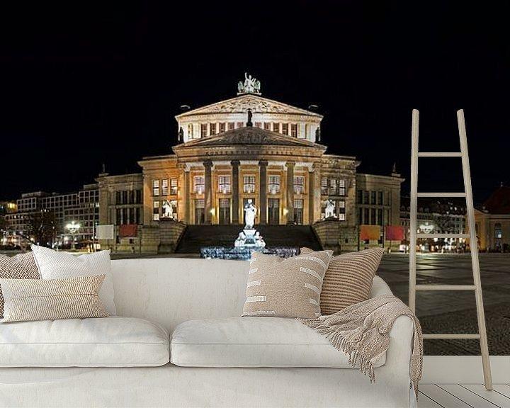 Sfeerimpressie behang: Gendarmenmarkt Berlijn Panorama bij nacht van Frank Herrmann