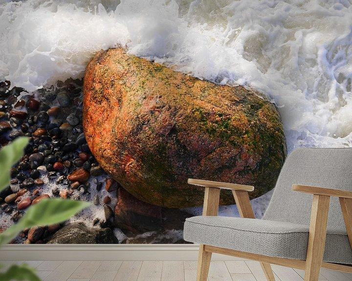 Beispiel fototapete: Stein in der Brandung, fotografiert von oben von Jörg Hausmann