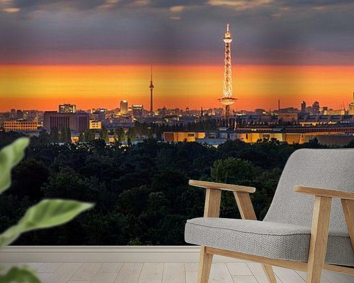 Sfeerimpressie behang: Berlijn Panroama bij zonsopgang van Frank Herrmann