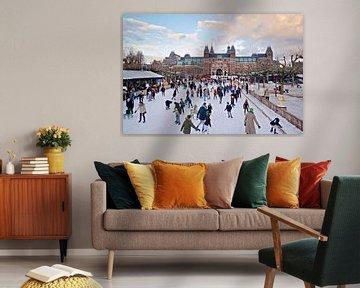 Amsterdam winter ijs Museumplein van Marianna Pobedimova