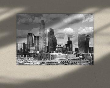 Skyline London zwart-wit van Erik Juffermans