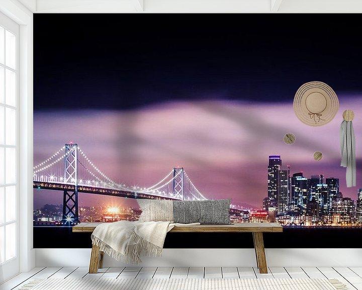 Impression: Bay Bridge à San Francisco en soirée sur Atelier Liesjes