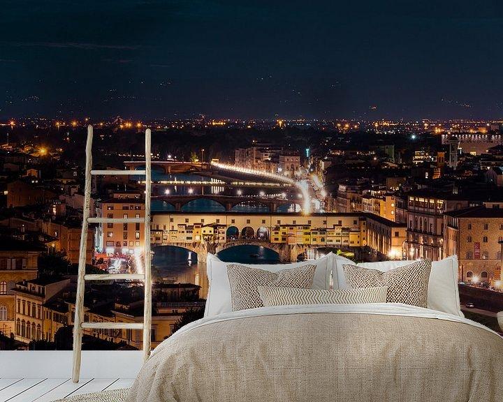 Impression: Ponte Vecchio sur l'Arno la nuit sur Atelier Liesjes