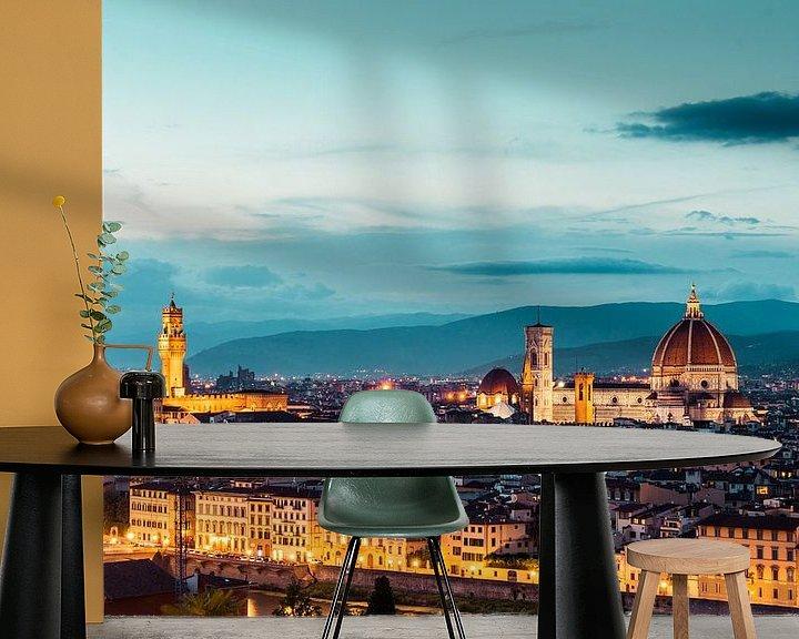 Sfeerimpressie behang: Kathedraal van Florence en het oude palijs in Florence in de avond van Atelier Liesjes