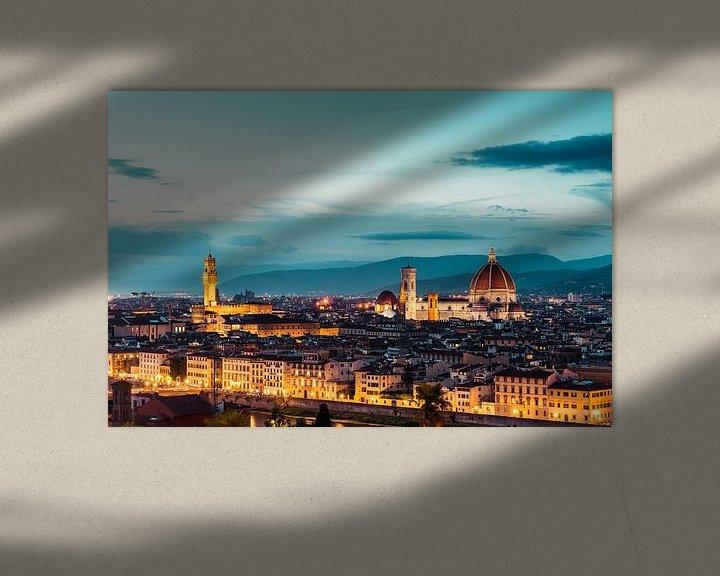 Sfeerimpressie: Kathedraal van Florence en het oude palijs in Florence in de avond van Atelier Liesjes
