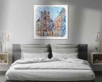 De Gevangenpoort in Bergen op Zoom (aquarel) van Art by Jeronimo