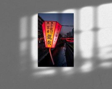 Lampion in de lente bij Meguro River van Mickéle Godderis