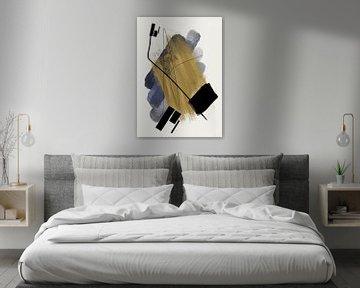 Abstrakte Malerei mit Tinte und Farbstreifen von Romee Heuitink