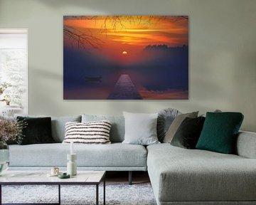 Sonnenuntergang mit Gerüst von Hendrik Jonkman