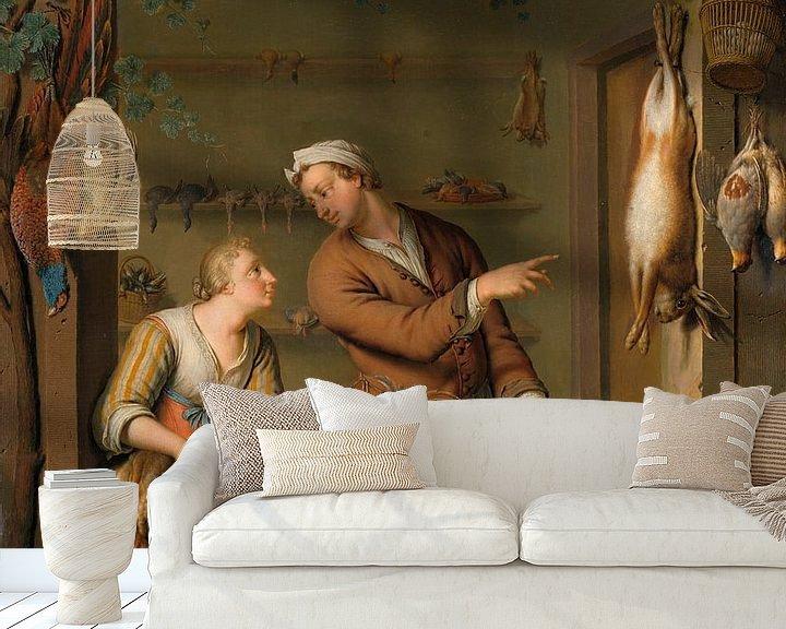 Beispiel fototapete: Der Geflügelverkäufer, Willem van Mieris