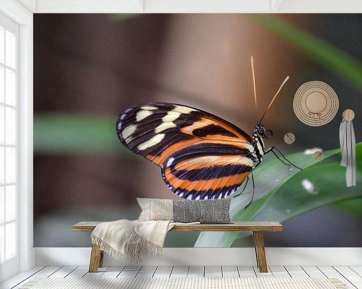 Sfeerimpressie behang: Macro beeld van een mooie kleurrijke vlinder van Kim de Been