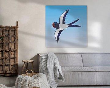 Fliegende Rauchschwalbe von Bianca Wisseloo