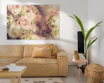 Trouwboeket van rozen in roze en wit