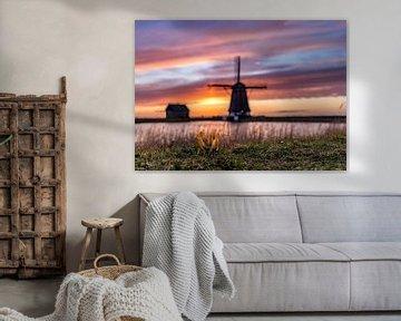 Molen het Noorden zonsondergang Texel van Texel360Fotografie Richard Heerschap