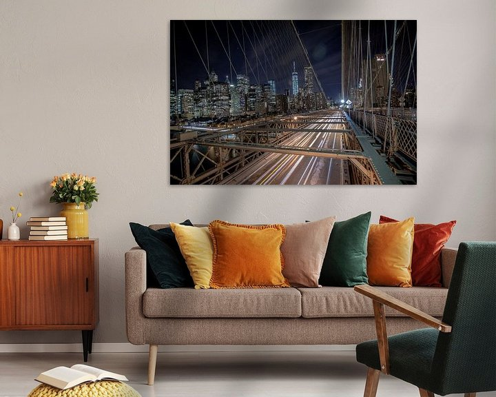 Sfeerimpressie: Brug bij Brooklyn, New York, 's nachts met lange sluitertijd van Atelier Liesjes
