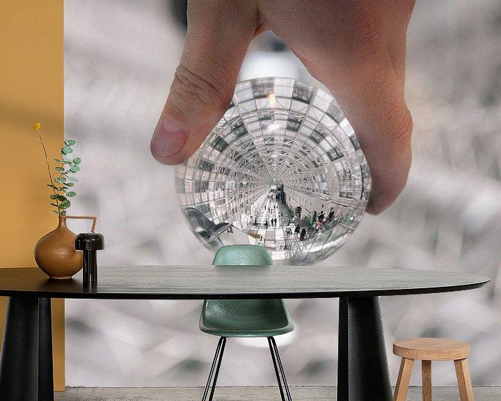 Sfeerimpressie behang: Verlichte tunnel door een lens gezien van Atelier Liesjes