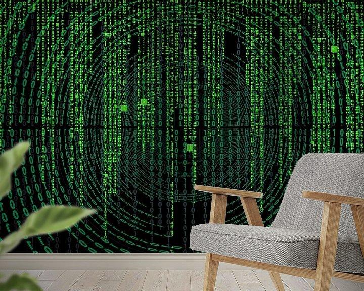 Sfeerimpressie behang: Matrix code op een scherm van Atelier Liesjes