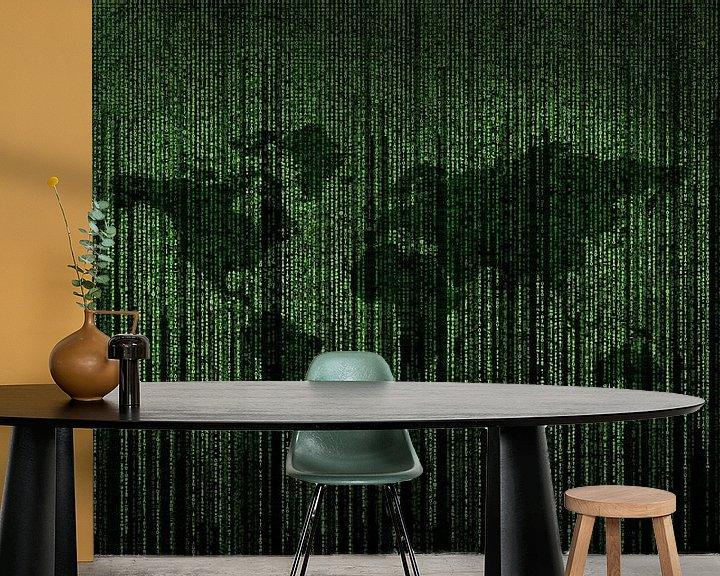 Beispiel fototapete: Matrixcode auf einem Bildschirm mit der Erde im Hintergrund von Atelier Liesjes