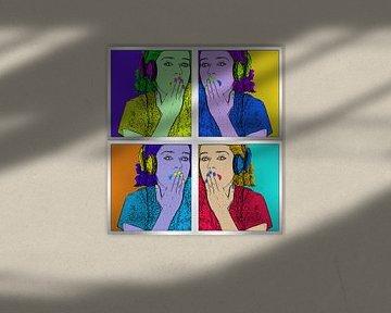 Pop-Art-Bild des Mädchens mit Kopfhörern auf dem Kopf von Atelier Liesjes