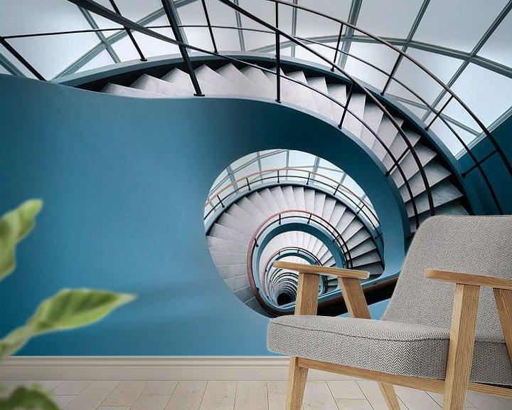 Sfeerimpressie behang: Blue Spiral van Martijn Kort