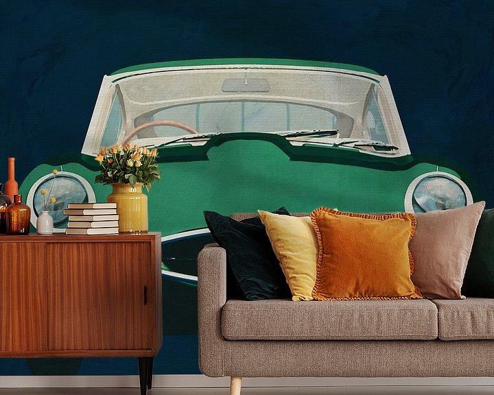 Sfeerimpressie behang: Jaguar E-Type 1960 Voorkant van Jan Keteleer