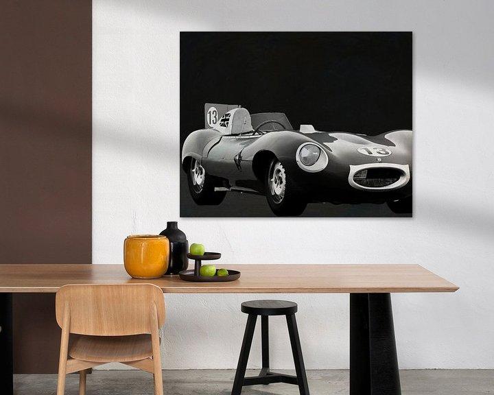 Sfeerimpressie: Jaguar Type D 1956 Voorkant b&w van Jan Keteleer