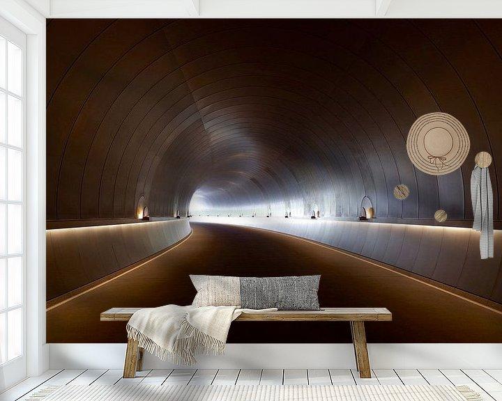 Beispiel fototapete: Endloser Tunnel mit Kurve und Beleuchtung von Atelier Liesjes
