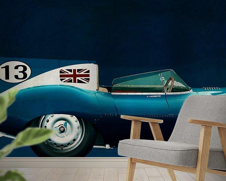 Sfeerimpressie behang: Jaguar Type D 1956 Rechterkantdeel van Jan Keteleer