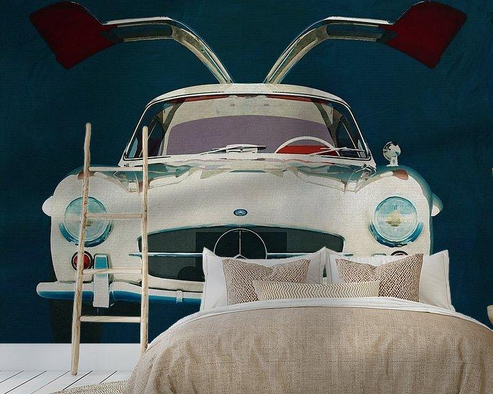 Sfeerimpressie behang: Mercedes 300SL Gullwings 1964 deuren openen van Jan Keteleer