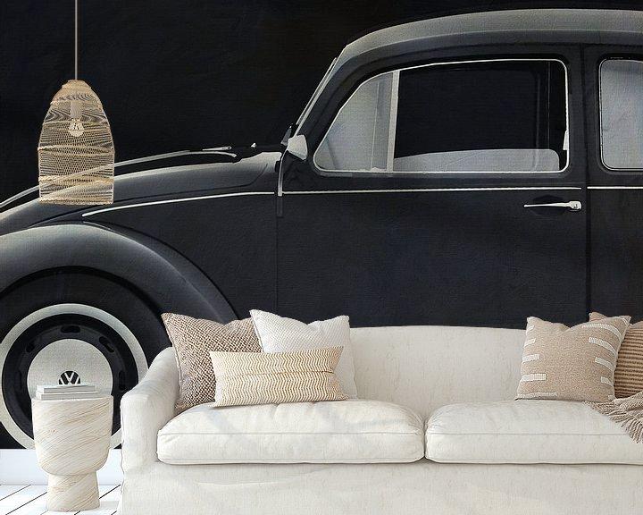 Sfeerimpressie behang: Volkswagen Kever Sedan 1972 zijde B&W van Jan Keteleer
