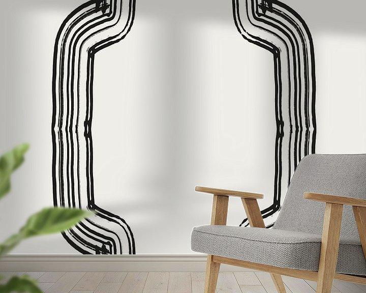 Sfeerimpressie behang: Abstract 2 delen 1 weg inkt van Romee Heuitink