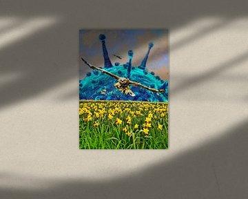 Corona spring time (virus en een buizerd boven een veld narcissen) van Ruben van Gogh