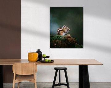 Porträt eines glücklichen sibirischen Erdhörnchens, das zum Essen bereit ist von Maarten Oerlemans