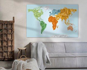 Farbige geometrische Weltkarte von Nynke Altenburg