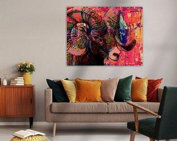 Ram in kleurrijke mixed media stijl van The Art Kroep