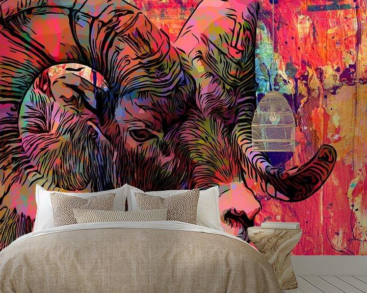 Sfeerimpressie behang: Ram in kleurrijke mixed media stijl van The Art Kroep