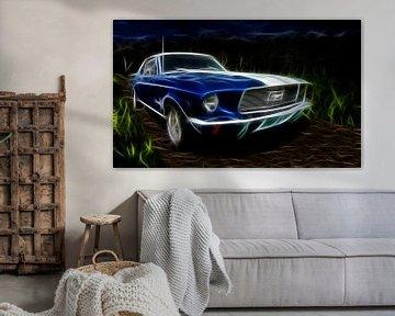 Ford Mustang muscle car von 1962 digital als Licht oder Energie umgewandelt