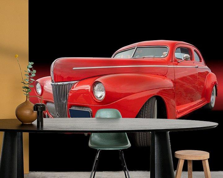 Sfeerimpressie behang: Futiristische rode auto op een zwarte achtergrond van mike van schoonderwalt