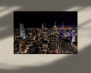 New York City skyline avond uitzicht vanuit Top of the Rock van Sjoerd Tullenaar