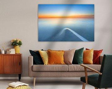 Zonsondergang boven het IJsselmeer bij Workum van Bas Meelker