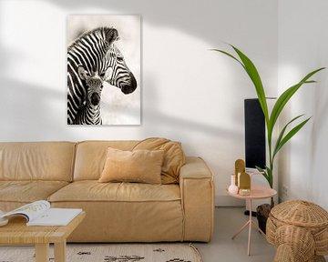 Zebra moeder met veulen van Ed Dorrestein