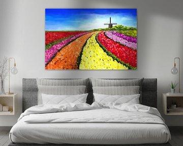 Landschapsschilderij met tulpenvelden en windmolen