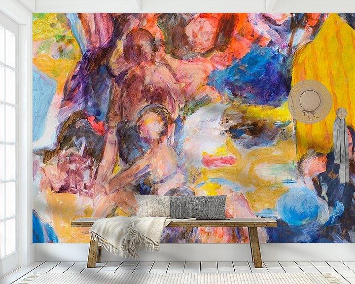 Sfeerimpressie behang: Strand met badgasten 1 van Paul Nieuwendijk