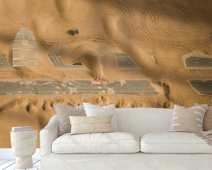 Beispiel fototapete: Verlassene Straße in der Wüste von Dubai von Michiel Dros