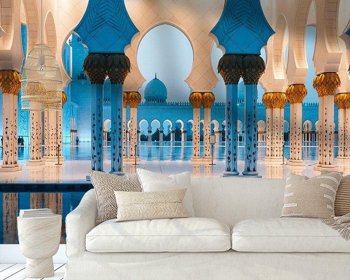 Sfeerimpressie behang: Sheikh Zayed Moskee (Abu Dhabi) in de avond van Michiel Dros