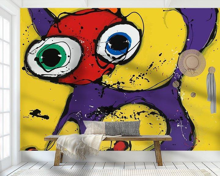 Sfeerimpressie behang: Yellow Cat van Jacky Zegers