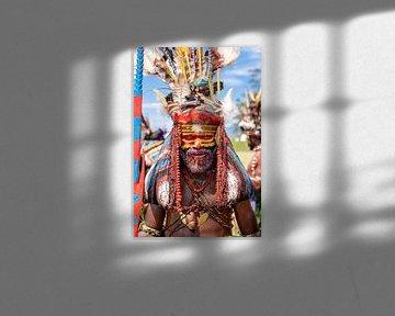 Lokale stam in Papua New Guinea | Reisfotografie fotografie portretfotografie portret art van Milene van Arendonk